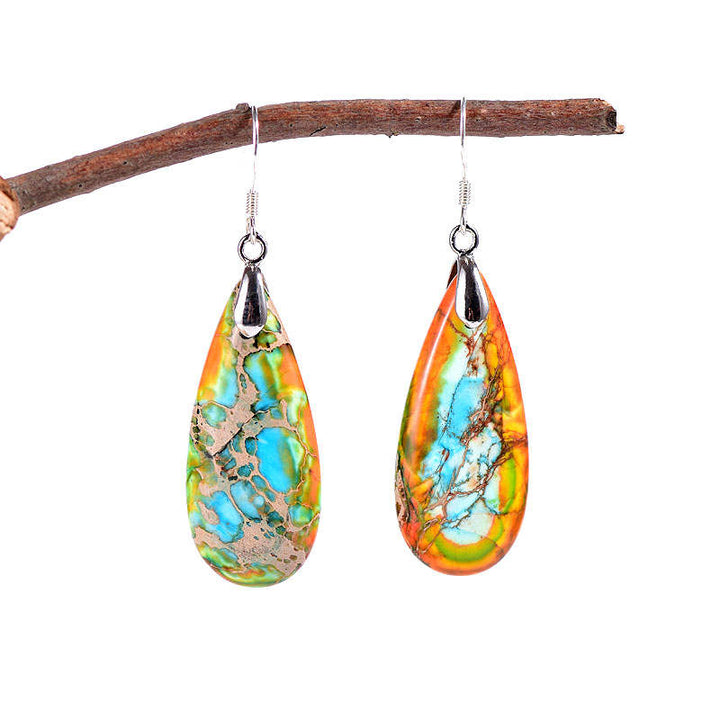 Orange Blue Jasper Teardrop Earrings