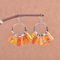 Orange Jasper Sterling Silver Earrings
