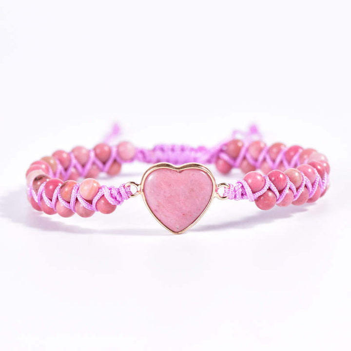 Pink Rhodochrosite Heart Vegan Adjustable Bracelet