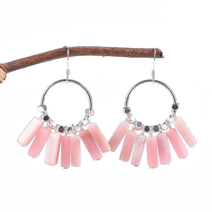 Pink Opal Sterling Silver Earrings