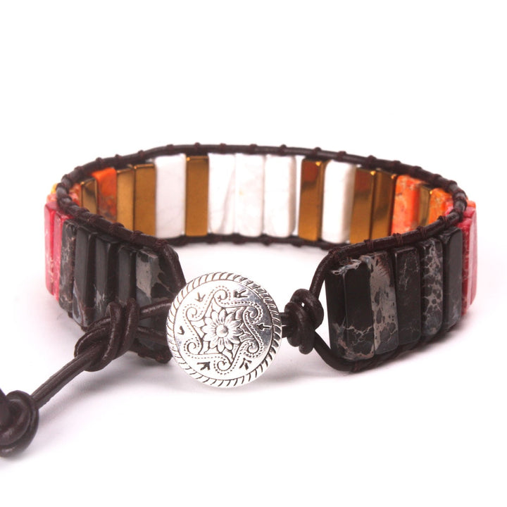 Orange-Brown-Gold Jasper Leather Wrap Bracelet
