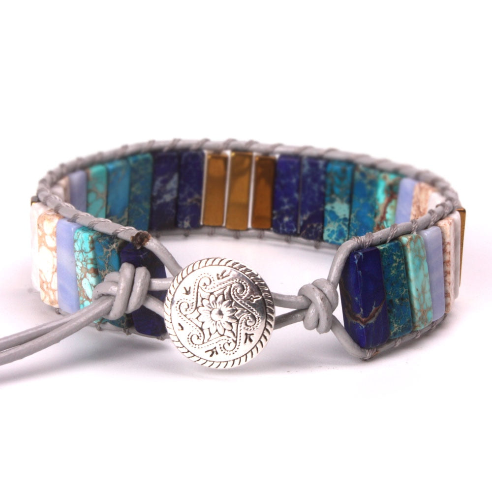 Blue-Green-Gold Jasper Leather Wrap Bracelet