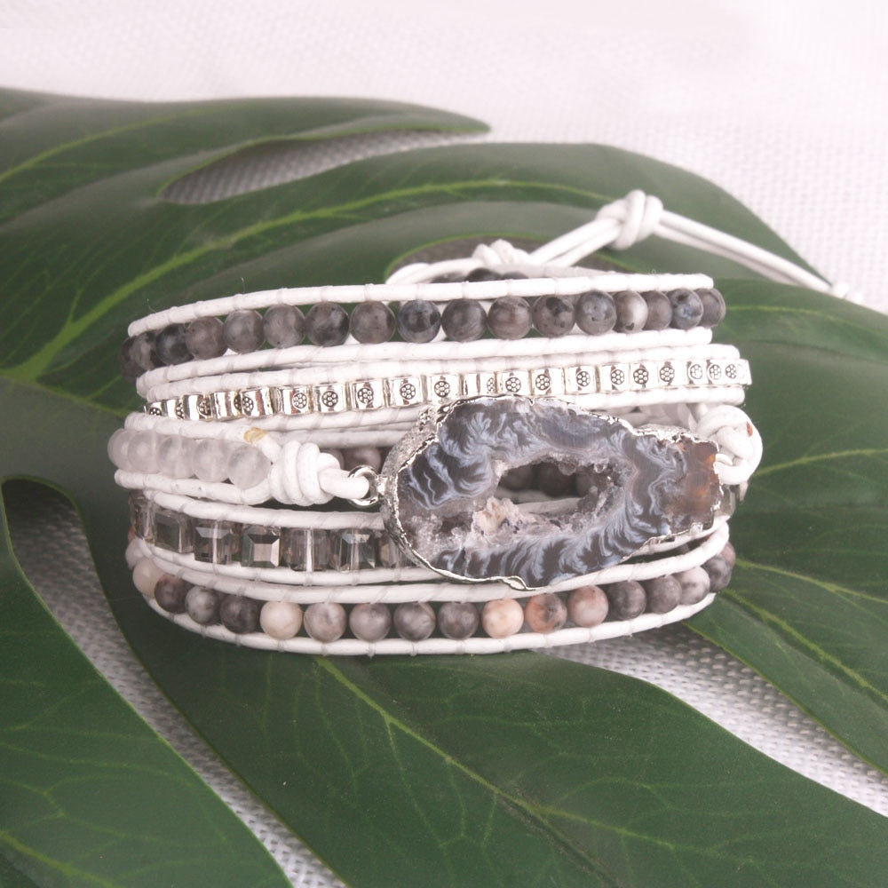 White Druzy Crystal and Labradorite Leather 5-Wrap Bracelet