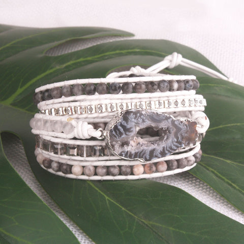 White Druzy Crystal and Labradorite Stone 5-Wrap Bracelet