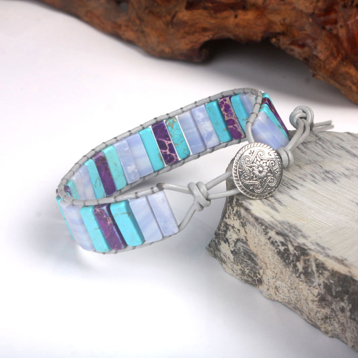 Blue-Purple Jasper Leather Wrap Bracelet