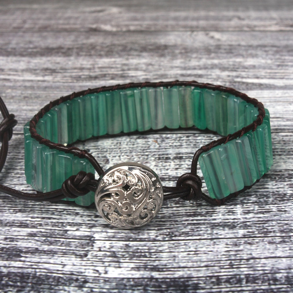 Green Onyx Leather Wrap Bracelet