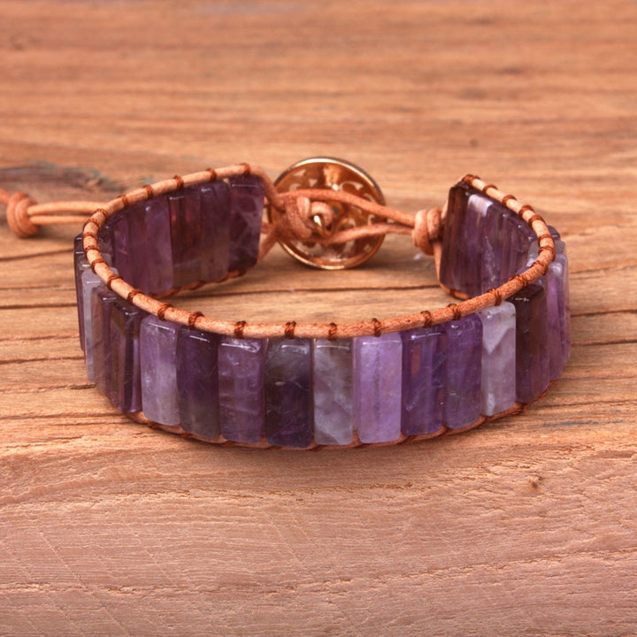 Purple Amethyst Leather Wrap Bracelet