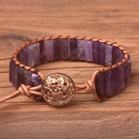 Purple Amethyst Natural Stone Wrap Bracelet
