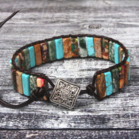 Mixed Stone Leather Wrap Bracelet