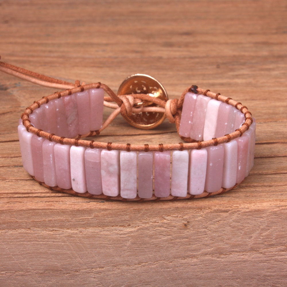 Pink Opal Leather Wrap Bracelet