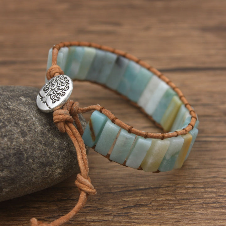 Blue Amazonite Leather Wrap Bracelet
