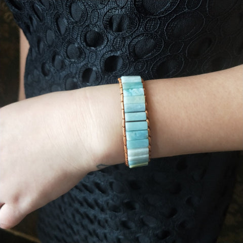 Blue Amazonite Stone Wrap Bracelet
