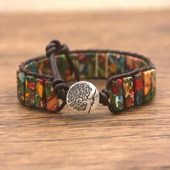 Funky Jasper Leather Wrap Bracelet - Discontinued Color
