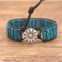 Dark Blue Jasper Leather Wrap Bracelet