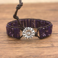 Dark Purple Jasper Leather Wrap Bracelet