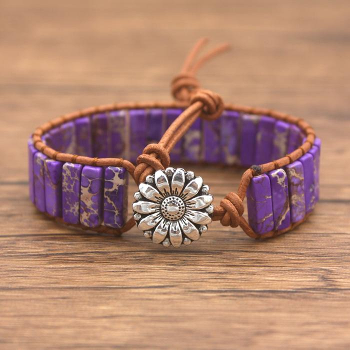 Light Purple Jasper Leather Wrap Bracelet