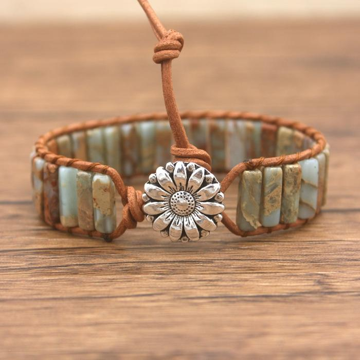 Light Earth-Tone Jasper Leather Wrap Bracelet