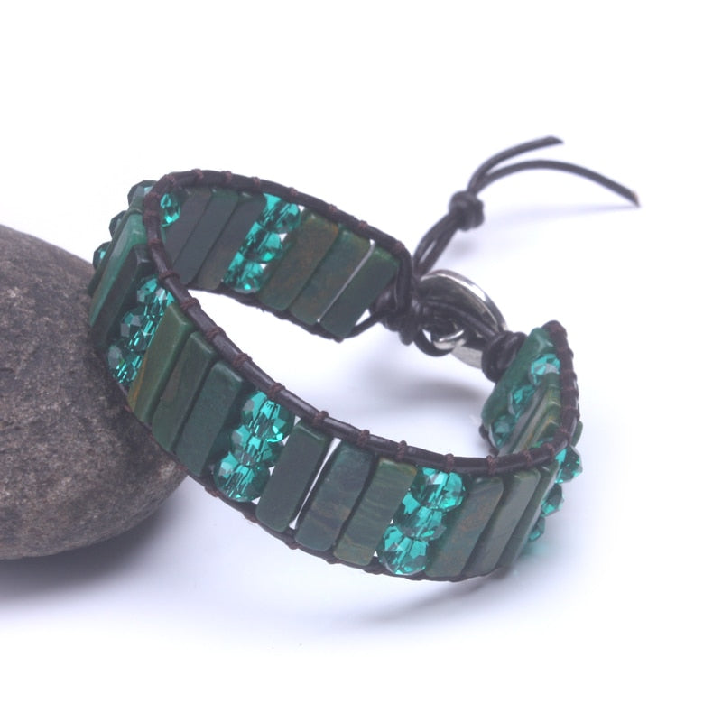 Green Jasper and Crystal Leather Wrap Bracelet