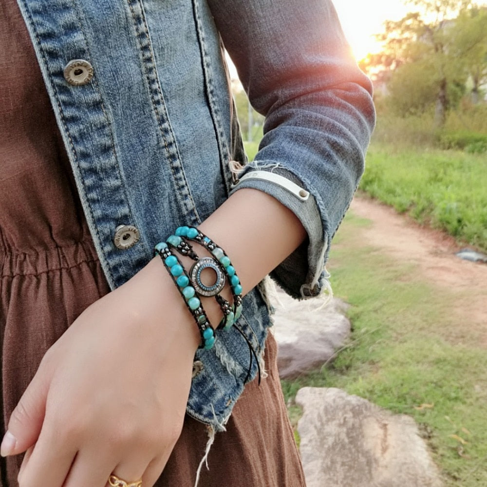 Natural Stone Eye Leather 3-Wrap Bracelet