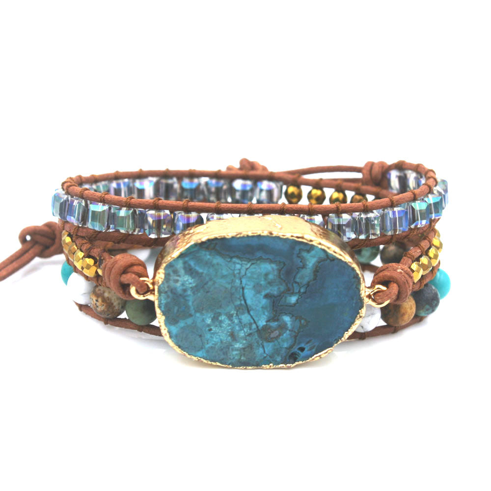 Mixed Jasper Leather 3-Wrap Bracelet