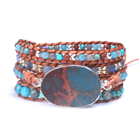 Blue Natural Stone 5-Wrap Bracelet