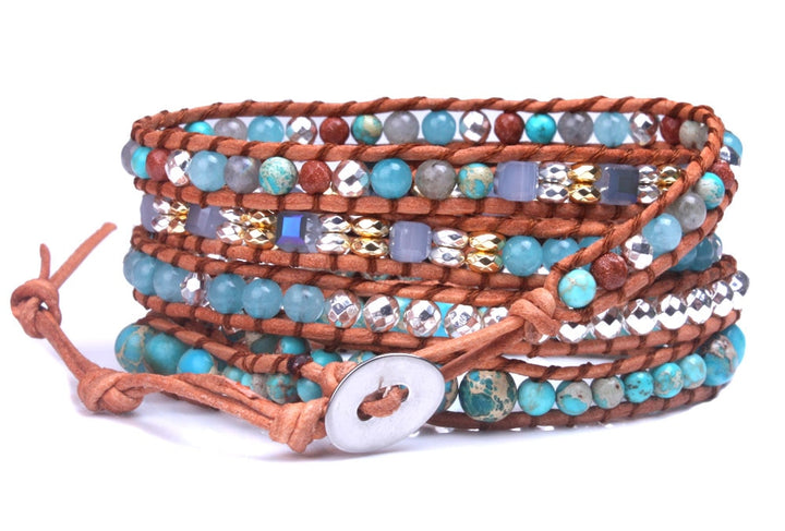 Blue Natural Stone Leather 5-Wrap Bracelet
