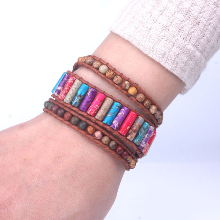 Natural Jasper Leather 3-Wrap Bracelet