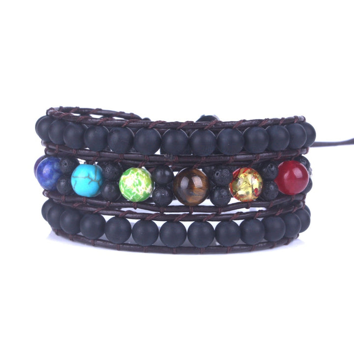 7 Chakra Lava Stone Leather 3-Wrap Bracelet