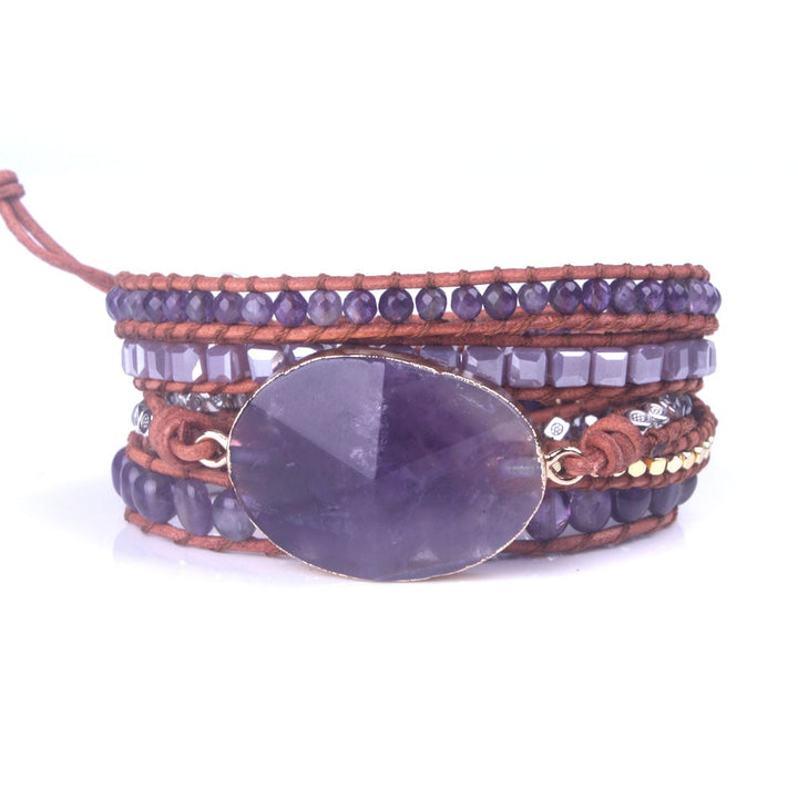 Amethyst Natural Stone Leather 5-Wrap Bracelet