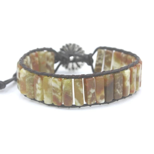 Dark Earth-Tone Jasper Leather Wrap Bracelet