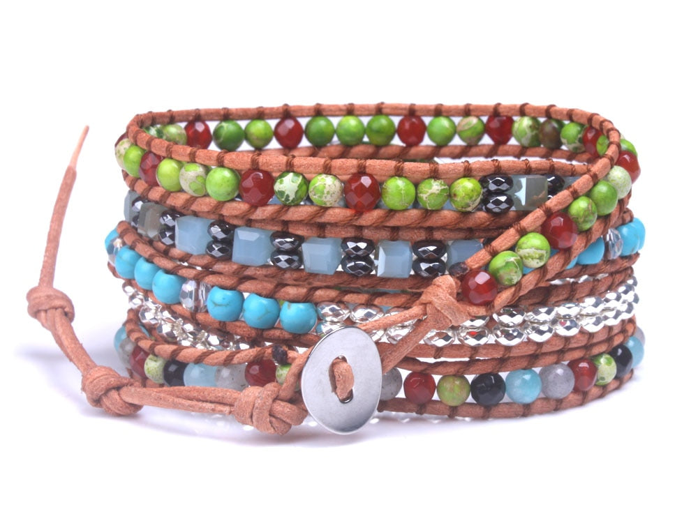 Green Jasper Leather 5-Wrap Bracelet