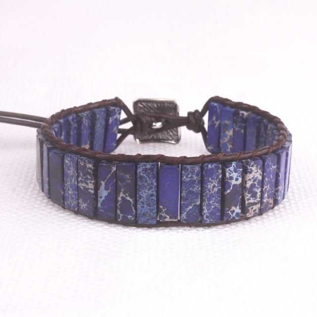 Deep Blue Jasper Leather Wrap Bracelet