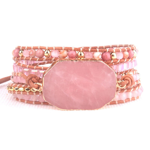 Rose Quartz Natural Stone 5-Wrap Bracelet