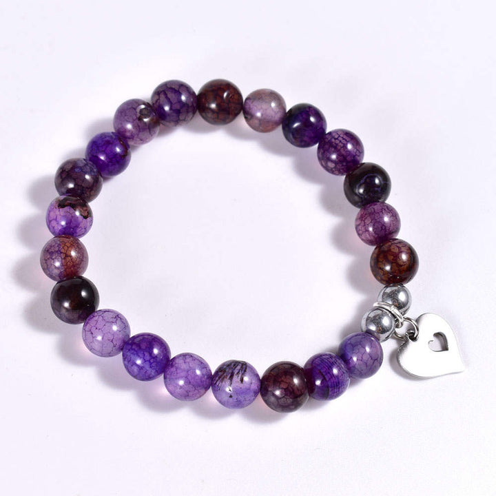 Purple Agate Bracelet with Open Heart Dangle
