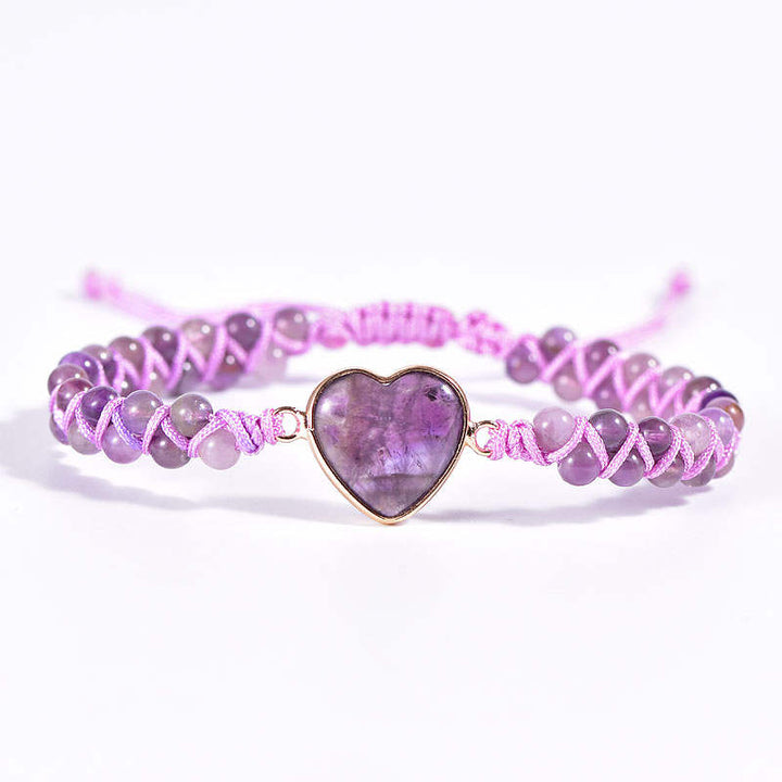 Amethyst Heart Vegan Adjustable Bracelet