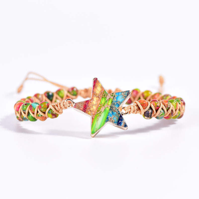 Rainbow Jasper Star Vegan Adjustable Bracelet