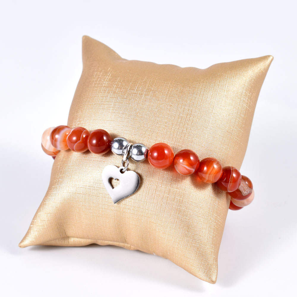 Red Agate Bracelet with Open Heart Dangle