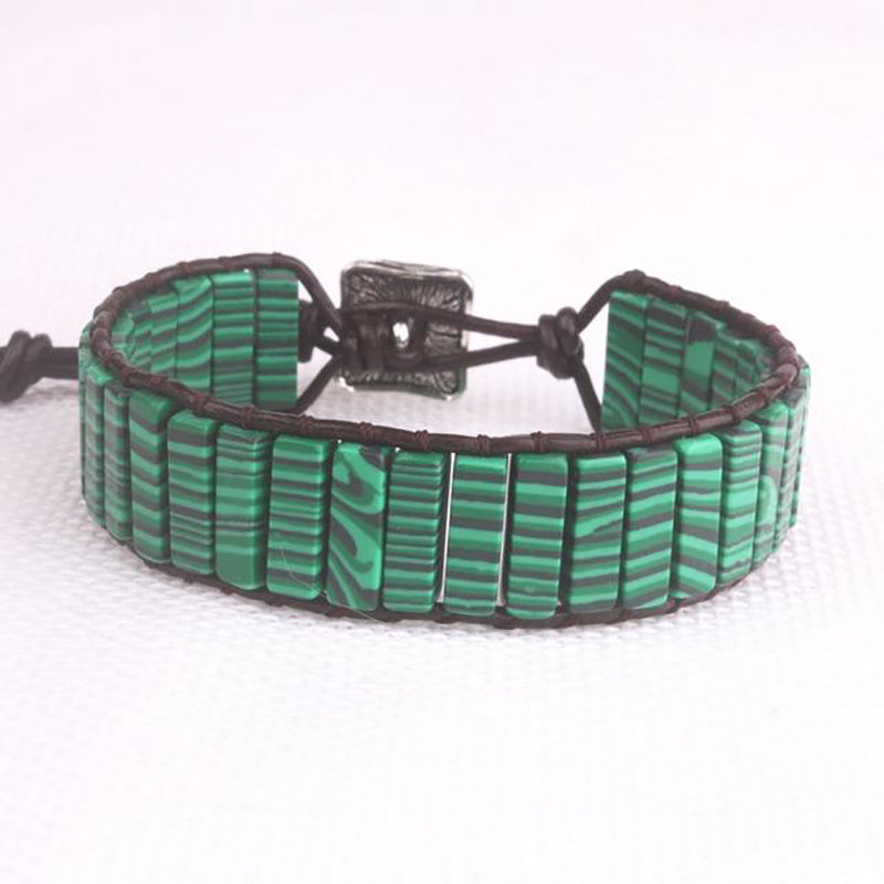 Dark Green Jasper Leather Wrap Bracelet