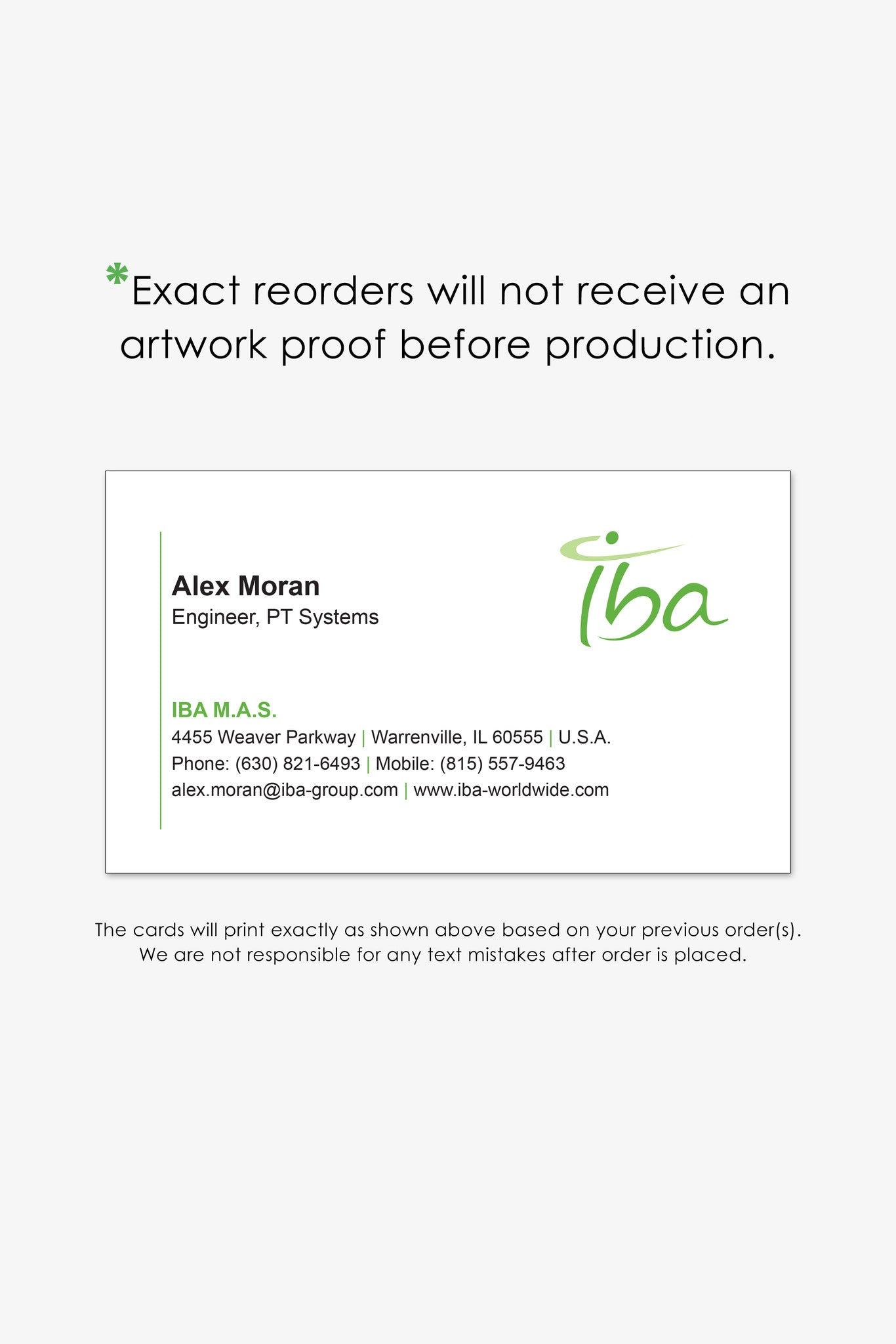 IBA Chicago business card reorder page   Endless Prints