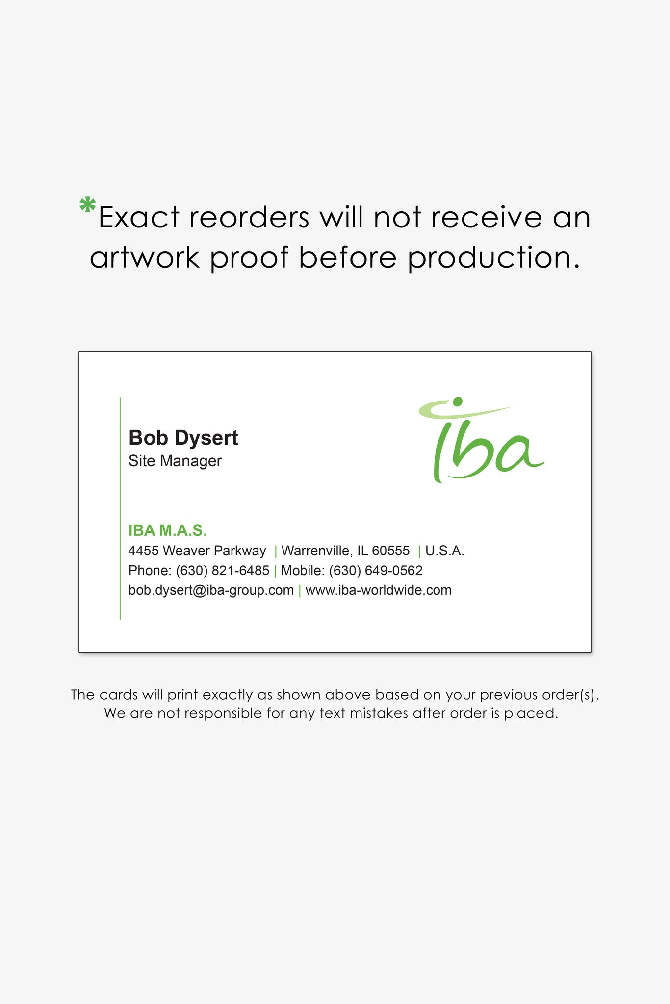 IBA Chicago business card reorder page | Endless Prints