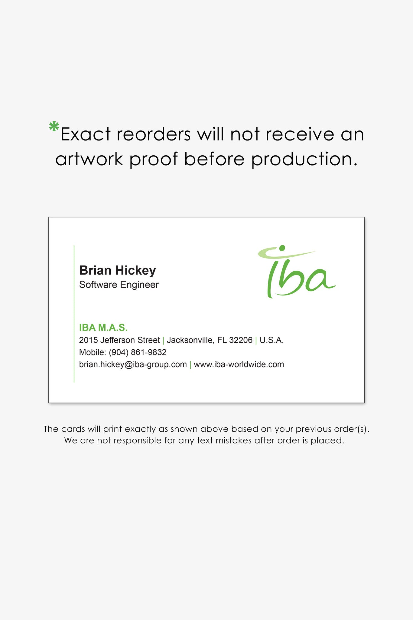 Iba jacksonville business card reorder page endless prints jacksonville business cards reheart Choice Image