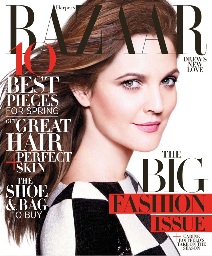 Drew Barrymore on Harper's Bazaar UK