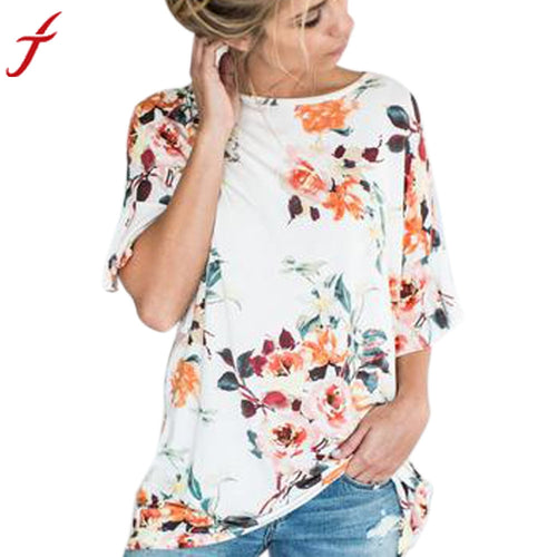 Floral Printing Short Sleeve O-Neck