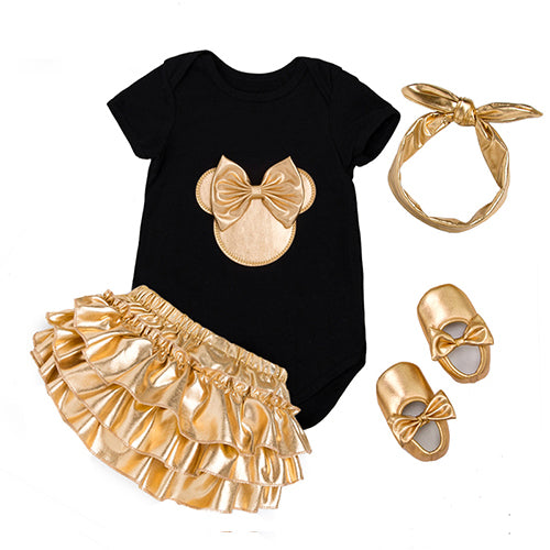 Bodysuit x Golden Ruffle Skirt x Headband x Shoes Set