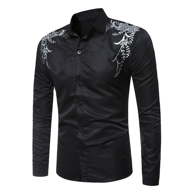 Men Long Sleeve Shirts Slim Fit