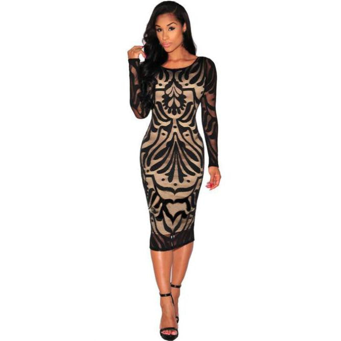 Women Sexy Bodycon Bandage Evening Cocktail Party Long Sleeve Lace Dress