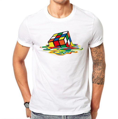 100% Cotton Cube Printed Men T-shirt