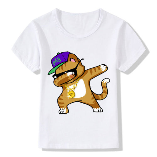 Kids Dabbing Animal Print T-shirt