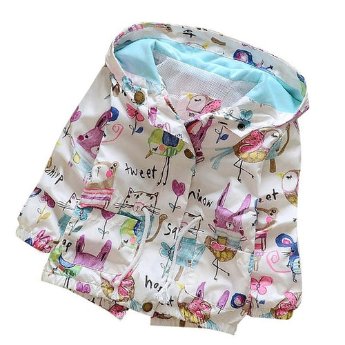 Kids Graffiti Print Hooded Coat