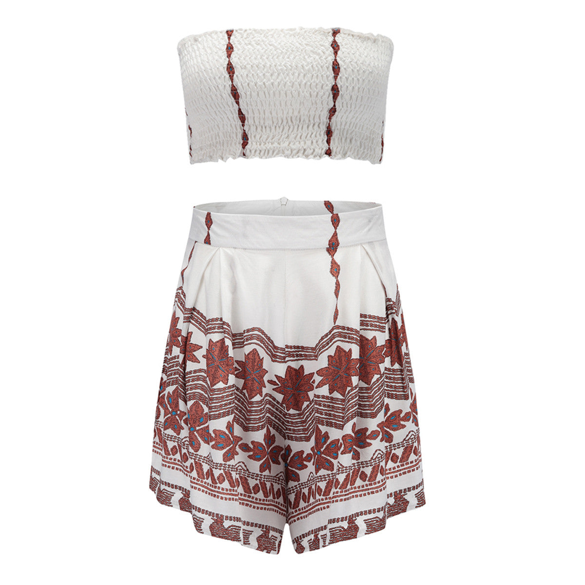 Sexy Flower Print Tops Skirt Set